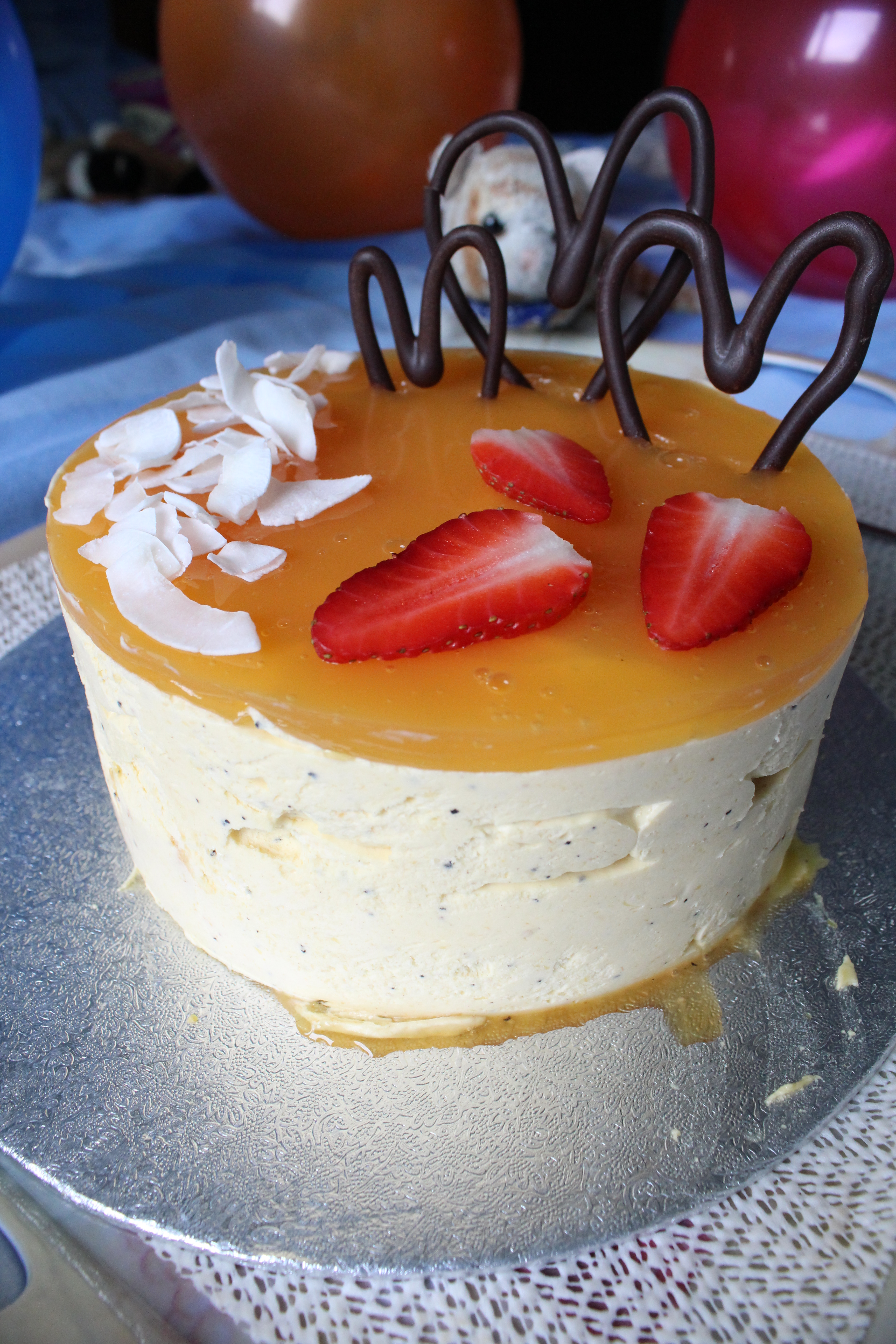 A Tropical Birthday Coconut Cake With Exotic Fruits Seven Types